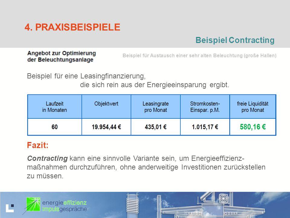 4. PRAXISBEISPIELE Beispiel Contracting Beispiel für eine Leasingfinanzierung, die sich rein aus der Energieeinsparung ergibt. Fazit: Contracting kann