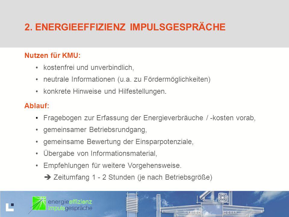 2. ENERGIEEFFIZIENZ IMPULSGESPRÄCHE Nutzen für KMU: kostenfrei und unverbindlich, neutrale Informationen (u.a. zu Fördermöglichkeiten) konkrete Hinwei