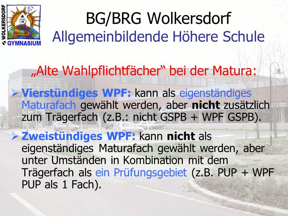 """BG/BRG Wolkersdorf Allgemeinbildende Höhere Schule """"Alte Wahlpflichtfächer"""" bei der Matura:  Vierstündiges WPF: kann als eigenständiges Maturafach ge"""