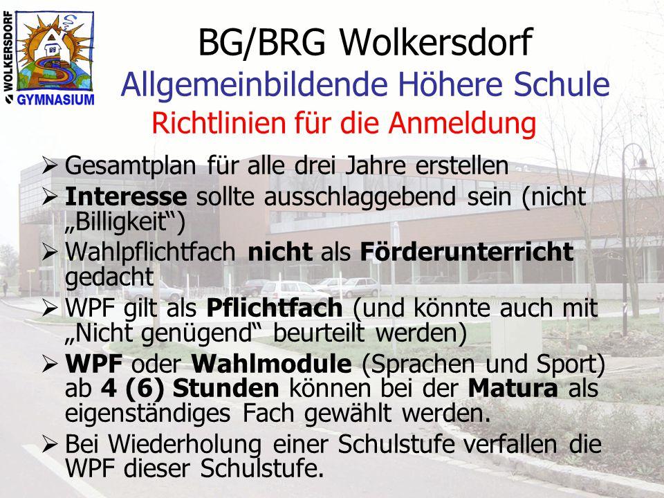 BG/BRG Wolkersdorf Allgemeinbildende Höhere Schule Richtlinien für die Anmeldung  Gesamtplan für alle drei Jahre erstellen  Interesse sollte ausschl
