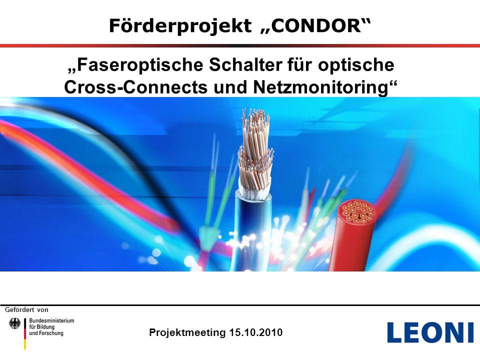 """Gefördert von Förderprojekt """"CONDOR """"Faseroptische Schalter für optische Cross-Connects und Netzmonitoring Projektmeeting 15.10.2010"""