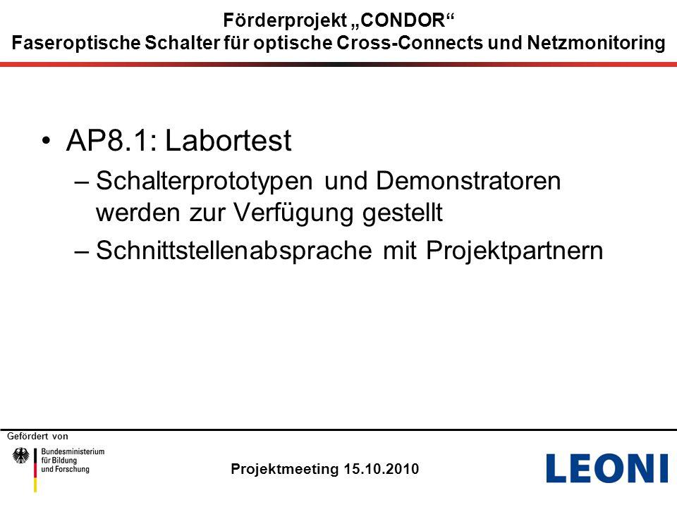 """Gefördert von Projektmeeting 15.10.2010 Förderprojekt """"CONDOR Faseroptische Schalter für optische Cross-Connects und Netzmonitoring AP8.1: Labortest –Schalterprototypen und Demonstratoren werden zur Verfügung gestellt –Schnittstellenabsprache mit Projektpartnern"""