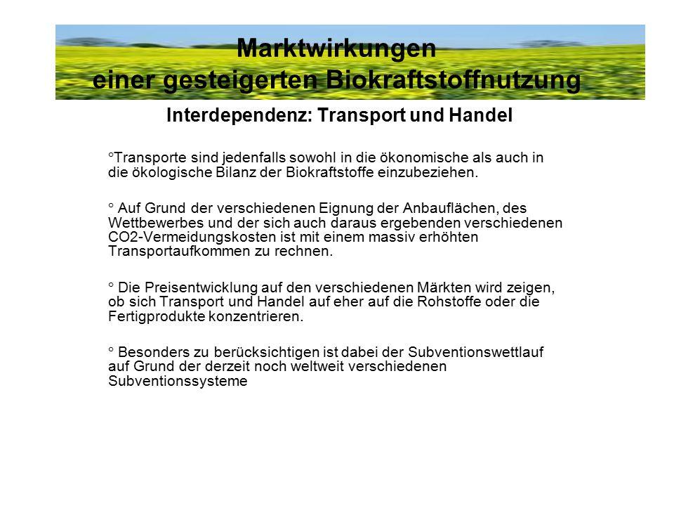 Marktwirkungen einer gesteigerten Biokraftstoffnutzung Interdependenz: Transport und Handel °Transporte sind jedenfalls sowohl in die ökonomische als