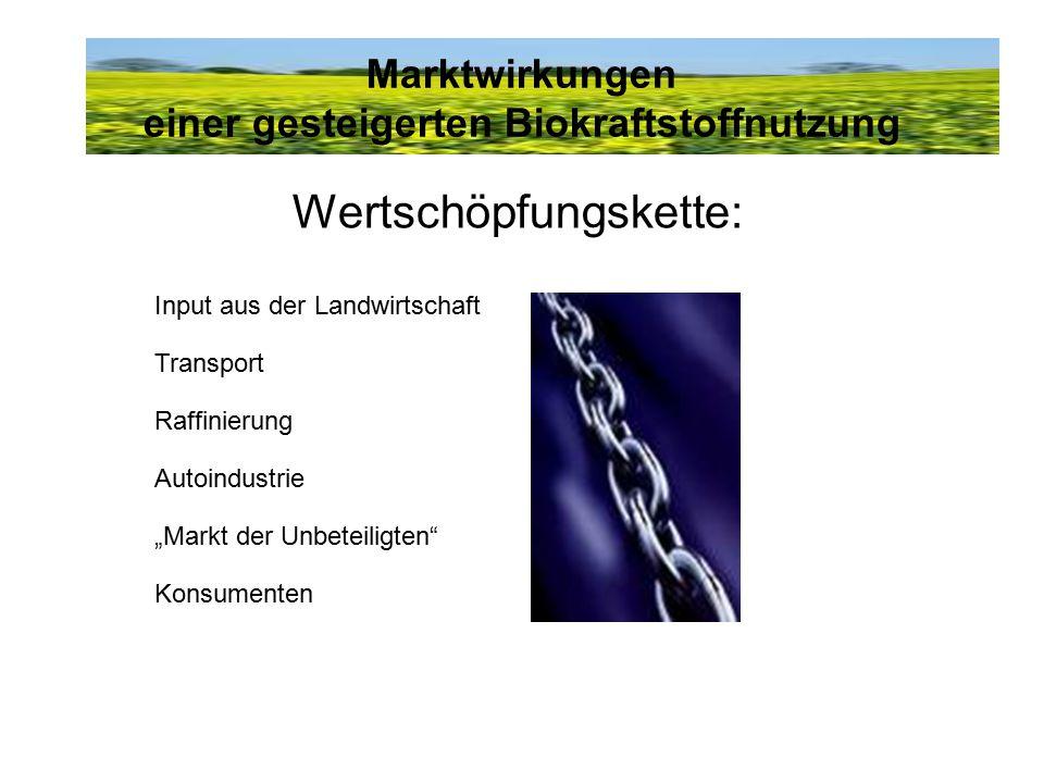"""Marktwirkungen einer gesteigerten Biokraftstoffnutzung Wertschöpfungskette: Input aus der Landwirtschaft Transport Raffinierung Autoindustrie """"Markt d"""
