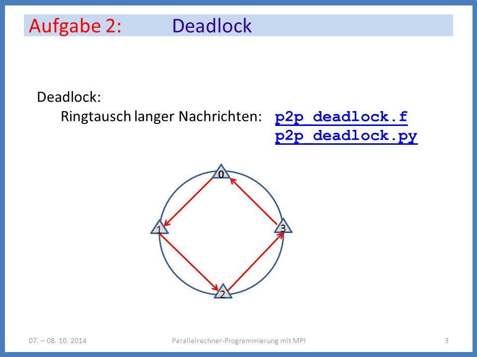 Aufgabe 2: Deadlock Parallelrechner-Programmierung mit MPI307.