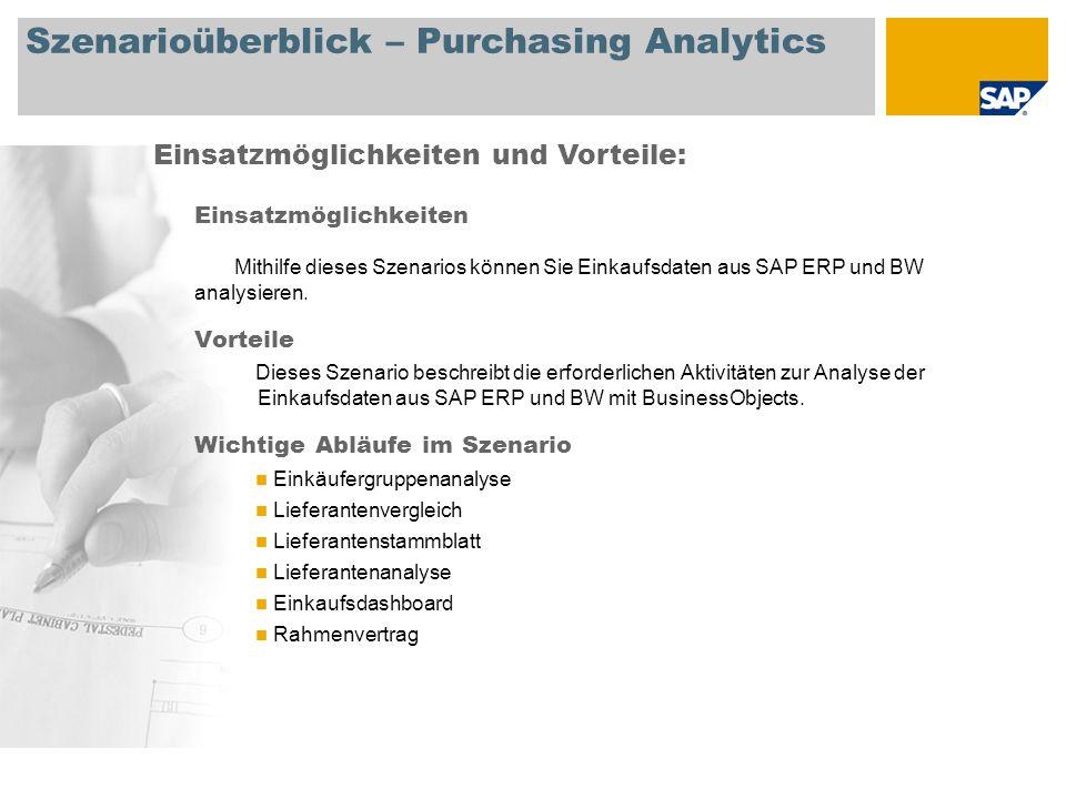 Szenarioüberblick – Purchasing Analytics Einsatzmöglichkeiten Mithilfe dieses Szenarios können Sie Einkaufsdaten aus SAP ERP und BW analysieren.