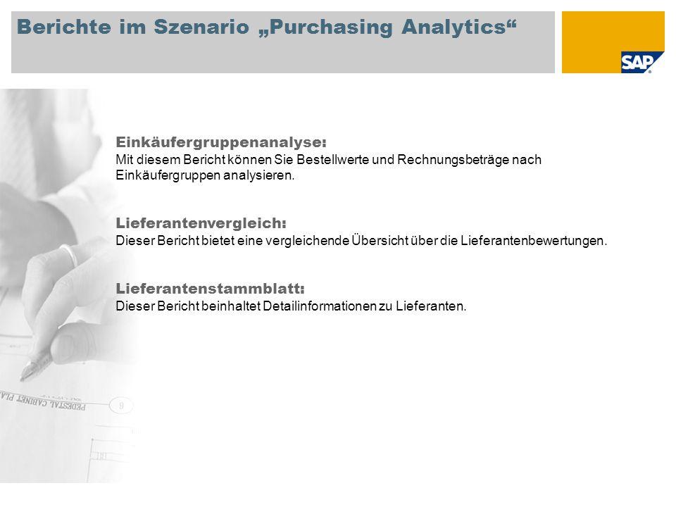 """Berichte im Szenario """"Purchasing Analytics Einkäufergruppenanalyse: Mit diesem Bericht können Sie Bestellwerte und Rechnungsbeträge nach Einkäufergruppen analysieren."""
