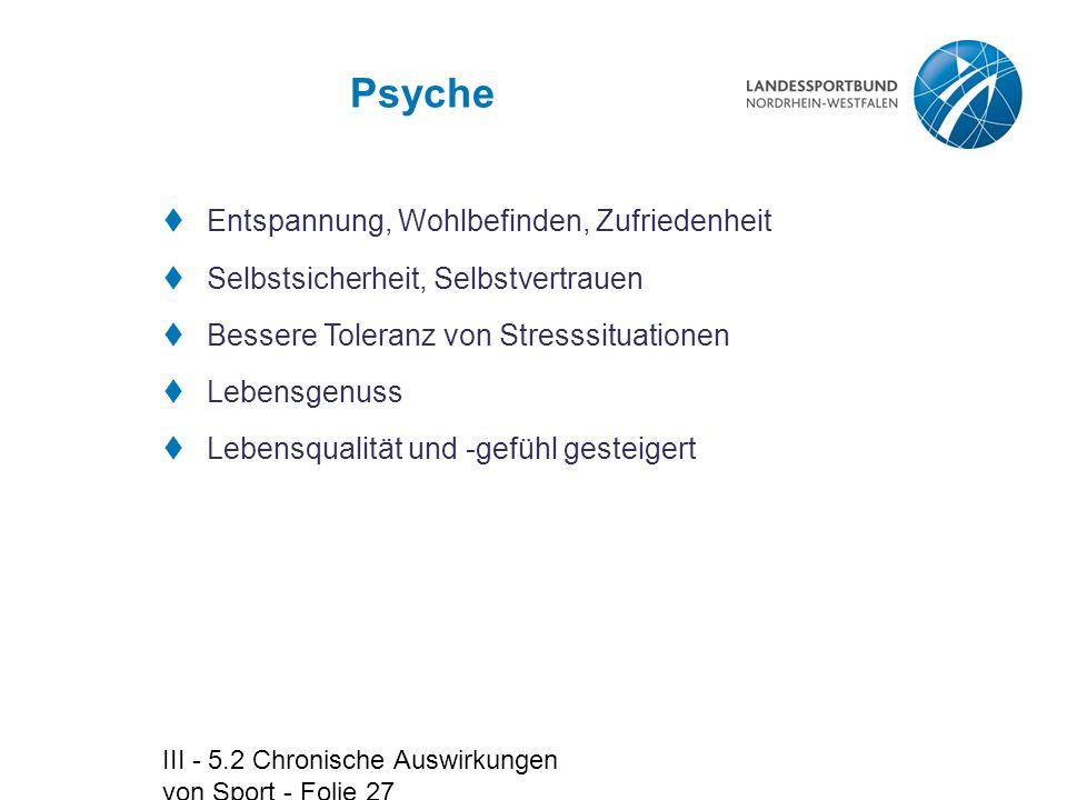 III - 5.2 Chronische Auswirkungen von Sport - Folie 27 Psyche  Entspannung, Wohlbefinden, Zufriedenheit  Selbstsicherheit, Selbstvertrauen  Bessere