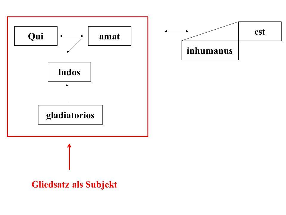 Quiamat ludos gladiatorios est inhumanus Gliedsatz als Subjekt