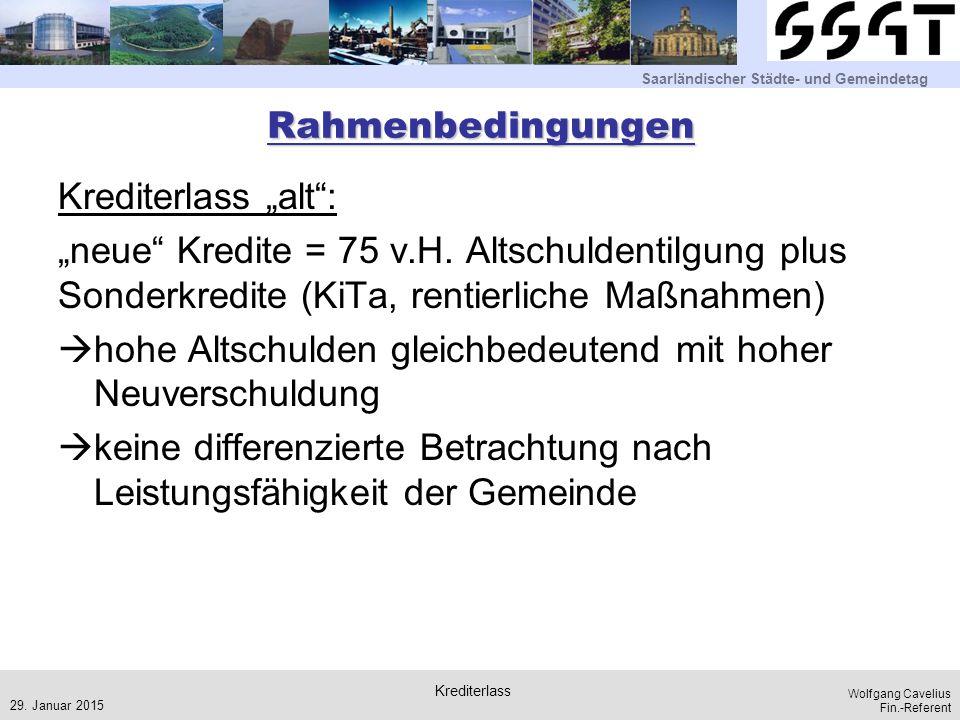 """Saarländischer Städte- und Gemeindetag Wolfgang Cavelius Fin.-Referent Rahmenbedingungen Krediterlass """"alt"""": """"neue"""" Kredite = 75 v.H. Altschuldentilgu"""
