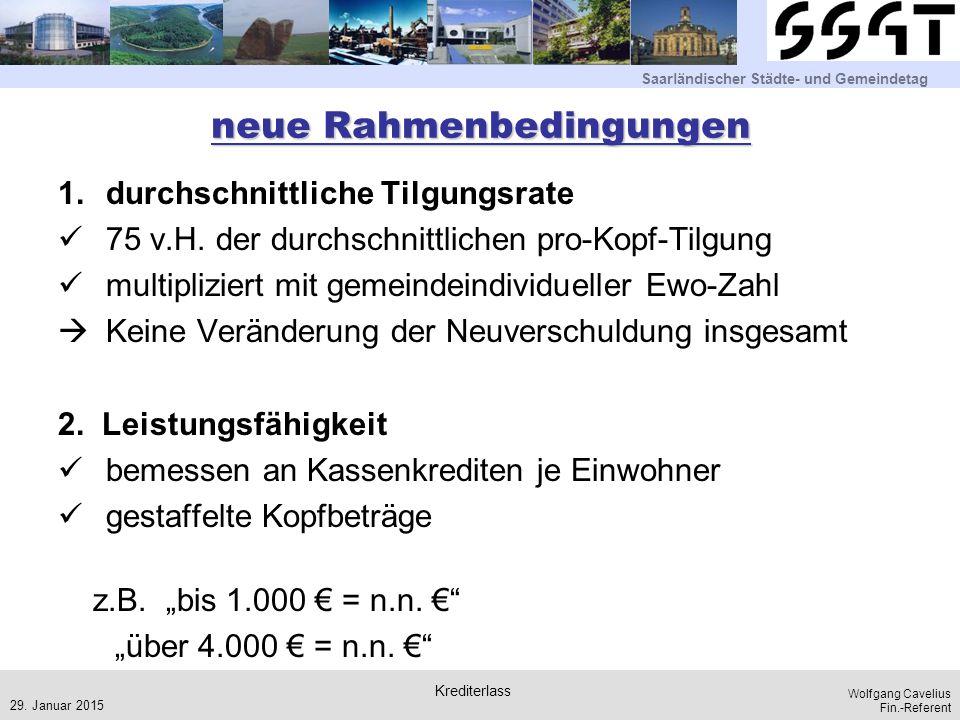 Saarländischer Städte- und Gemeindetag Wolfgang Cavelius Fin.-Referent neue Rahmenbedingungen 1.durchschnittliche Tilgungsrate 75 v.H. der durchschnit