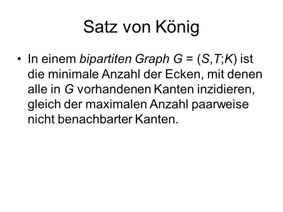 Satz von König In einem bipartiten Graph G = (S,T;K) ist die minimale Anzahl der Ecken, mit denen alle in G vorhandenen Kanten inzidieren, gleich der