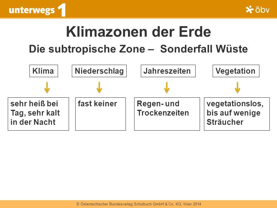© Österreichischer Bundesverlag Schulbuch GmbH & Co. KG, Wien 2014 Klimazonen der Erde Die subtropische Zone – Sonderfall Wüste sehr heiß bei Tag, seh