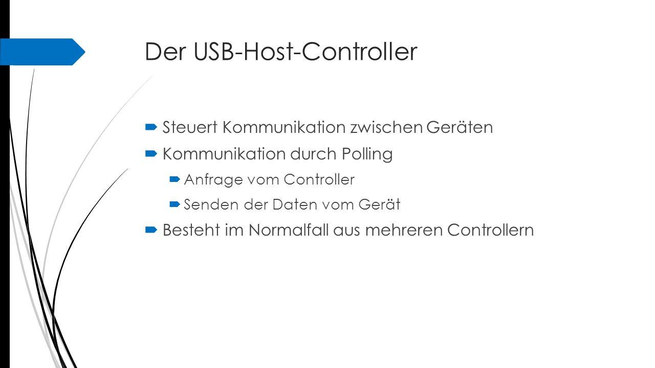 Der USB-Host-Controller  Steuert Kommunikation zwischen Geräten  Kommunikation durch Polling  Anfrage vom Controller  Senden der Daten vom Gerät 