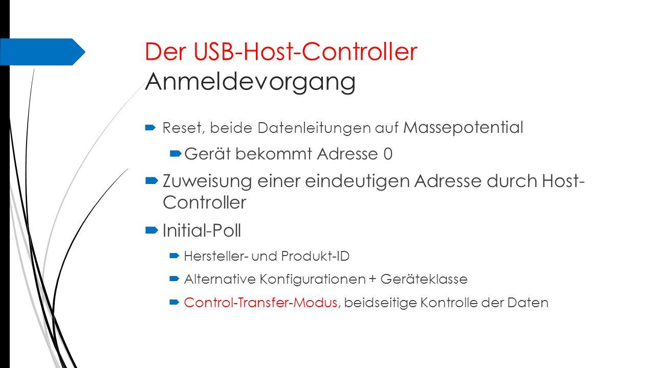 Der USB-Host-Controller Anmeldevorgang  Reset, beide Datenleitungen auf Massepotential  Gerät bekommt Adresse 0  Zuweisung einer eindeutigen Adress