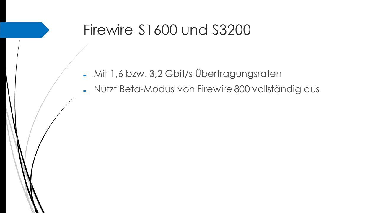 Firewire S1600 und S3200  Mit 1,6 bzw. 3,2 Gbit/s Übertragungsraten  Nutzt Beta-Modus von Firewire 800 vollständig aus