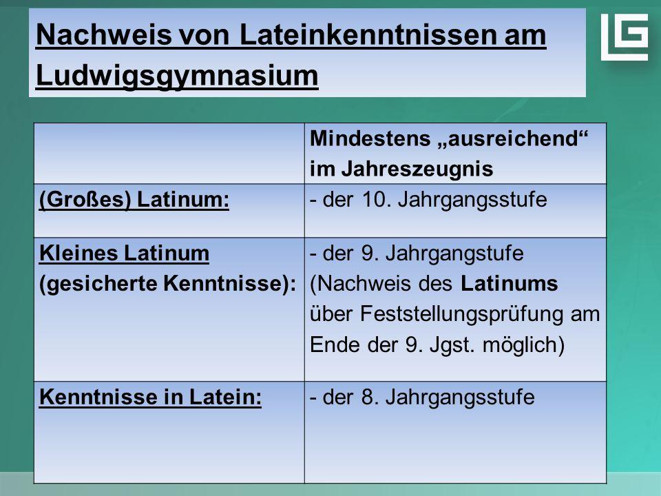 """Nachweis von Lateinkenntnissen am Ludwigsgymnasium Mindestens """"ausreichend im Jahreszeugnis (Großes) Latinum:- der 10."""