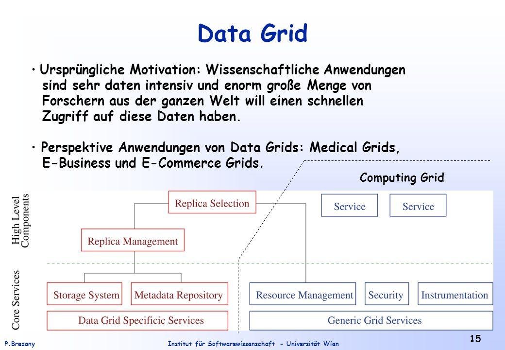 Institut für Softwarewissenschaft - Universität WienP.Brezany 15 Data Grid Ursprüngliche Motivation: Wissenschaftliche Anwendungen sind sehr daten intensiv und enorm große Menge von Forschern aus der ganzen Welt will einen schnellen Zugriff auf diese Daten haben.