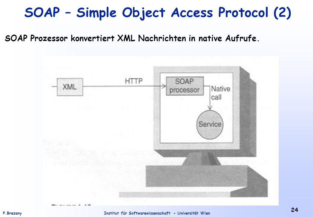 Institut für Softwarewissenschaft - Universität WienP.Brezany 24 SOAP – Simple Object Access Protocol (2) SOAP Prozessor konvertiert XML Nachrichten in native Aufrufe.