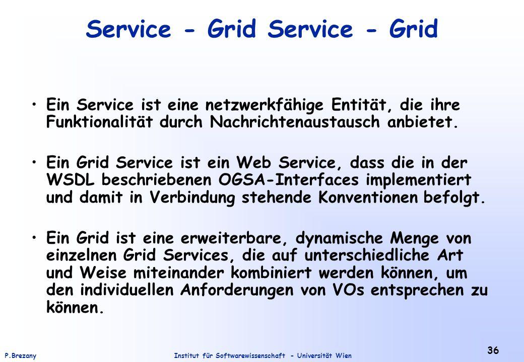 Institut für Softwarewissenschaft - Universität WienP.Brezany 36 Service - Grid Ein Service ist eine netzwerkfähige Entität, die ihre Funktionalität durch Nachrichtenaustausch anbietet.