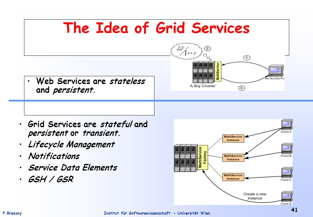 Institut für Softwarewissenschaft - Universität WienP.Brezany 41 The Idea of Grid Services Web Services are stateless and persistent. Grid Services ar
