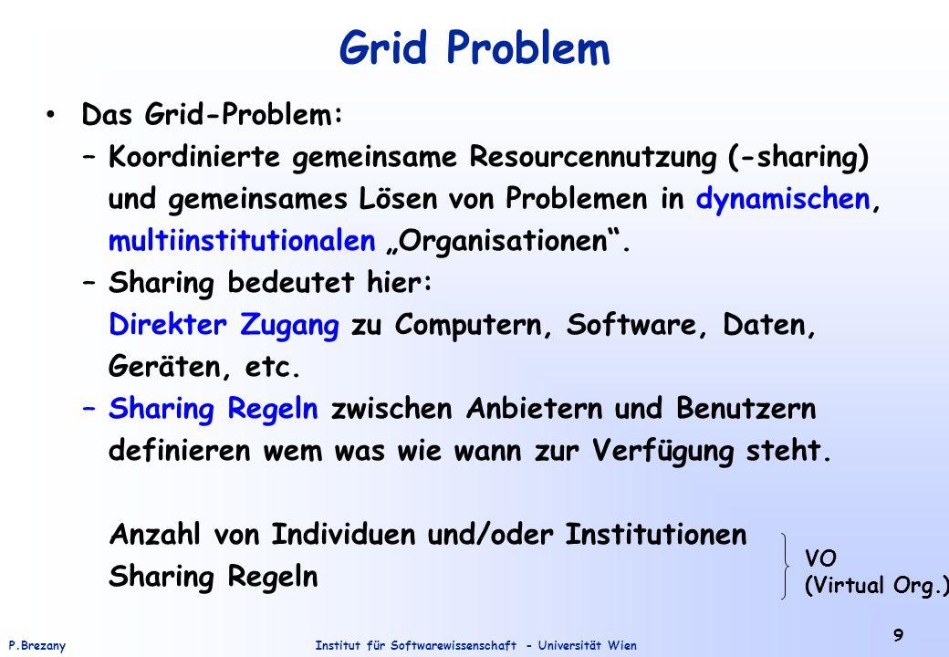 Institut für Softwarewissenschaft - Universität WienP.Brezany 20 Integration von Grid und Web Services: Open Grid Service Architecture - OGSA Integration von Grid- und Webtechnologien - zuerst nur eine Initiative vom Globus-Projekt und IBM; jetzt eine Aufgabe des Global Grid Forums.