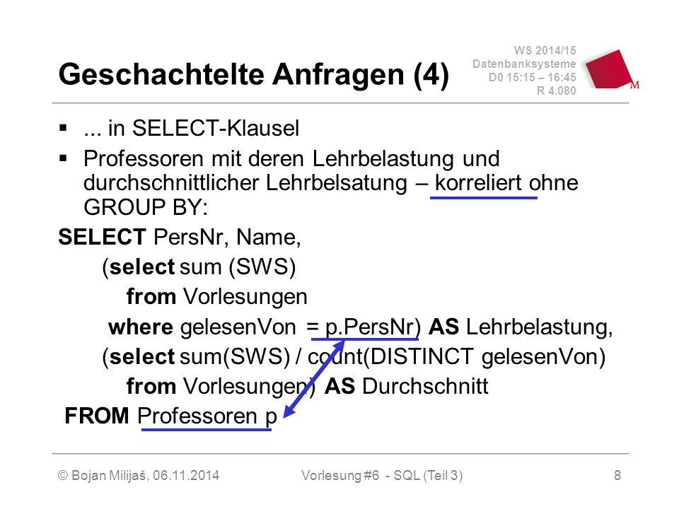 WS 2014/15 Datenbanksysteme D0 15:15 – 16:45 R 4.080 © Bojan Milijaš, 06.11.2014Vorlesung #6 - SQL (Teil 3) Geschachtelte Anfragen (4) ...