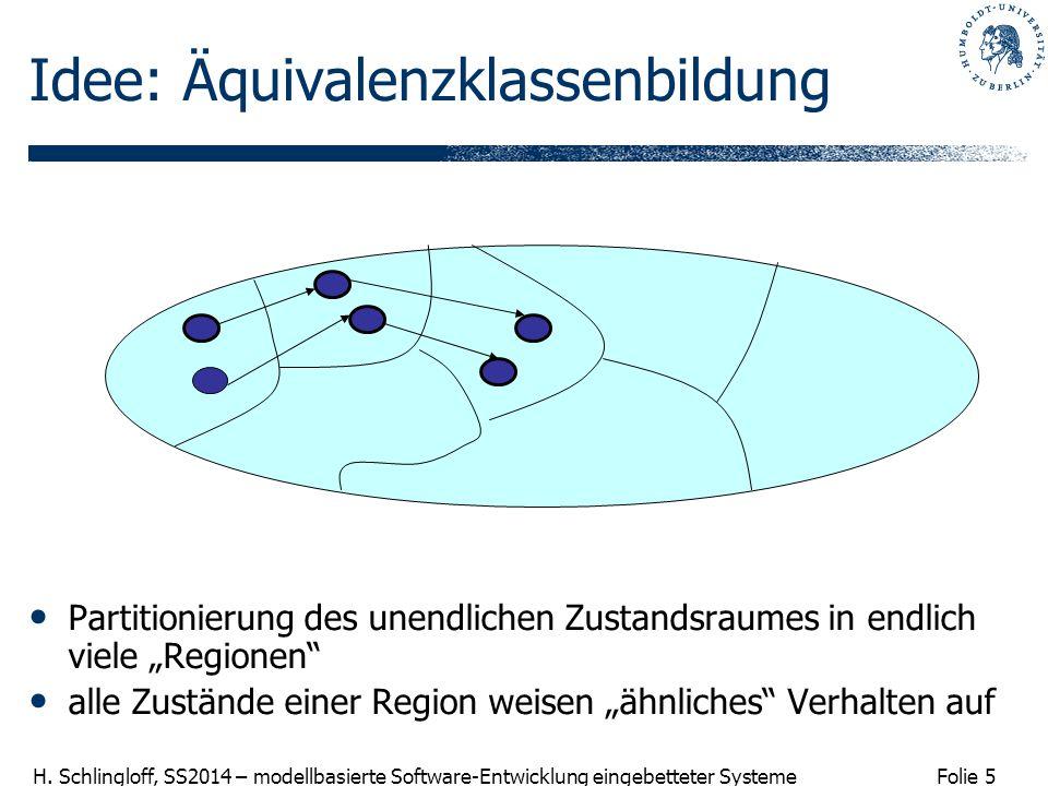 Folie 5 H. Schlingloff, SS2014 – modellbasierte Software-Entwicklung eingebetteter Systeme Idee: Äquivalenzklassenbildung Partitionierung des unendlic
