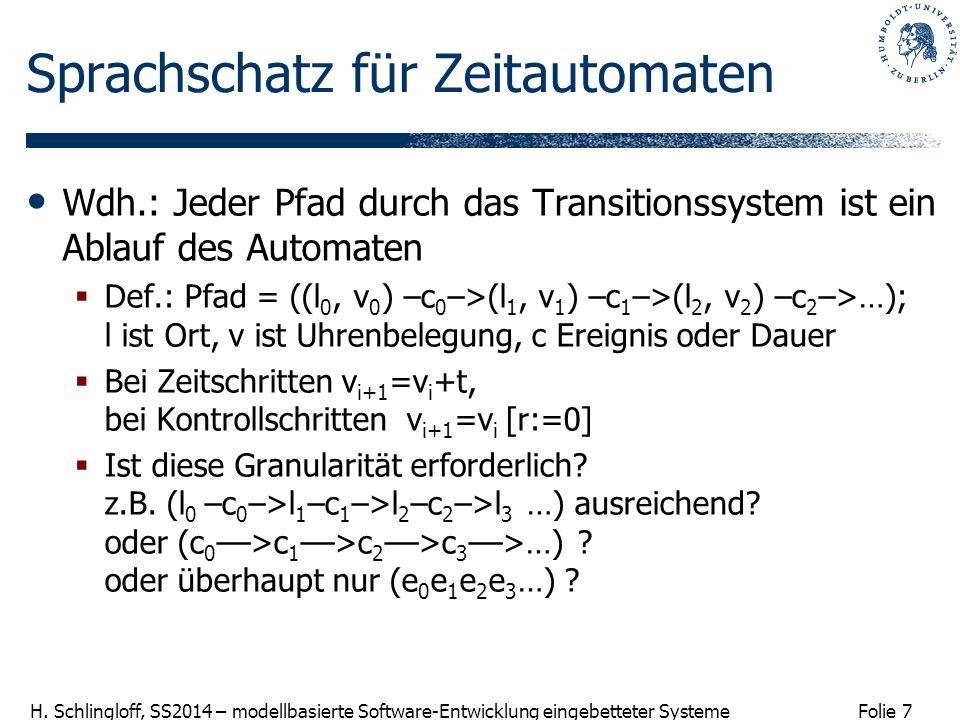 Folie 7 H. Schlingloff, SS2014 – modellbasierte Software-Entwicklung eingebetteter Systeme Sprachschatz für Zeitautomaten Wdh.: Jeder Pfad durch das T