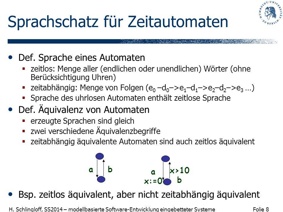 Folie 8 H. Schlingloff, SS2014 – modellbasierte Software-Entwicklung eingebetteter Systeme Sprachschatz für Zeitautomaten Def. Sprache eines Automaten