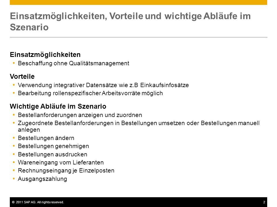 ©2011 SAP AG. All rights reserved.2 Einsatzmöglichkeiten, Vorteile und wichtige Abläufe im Szenario Einsatzmöglichkeiten  Beschaffung ohne Qualitätsm