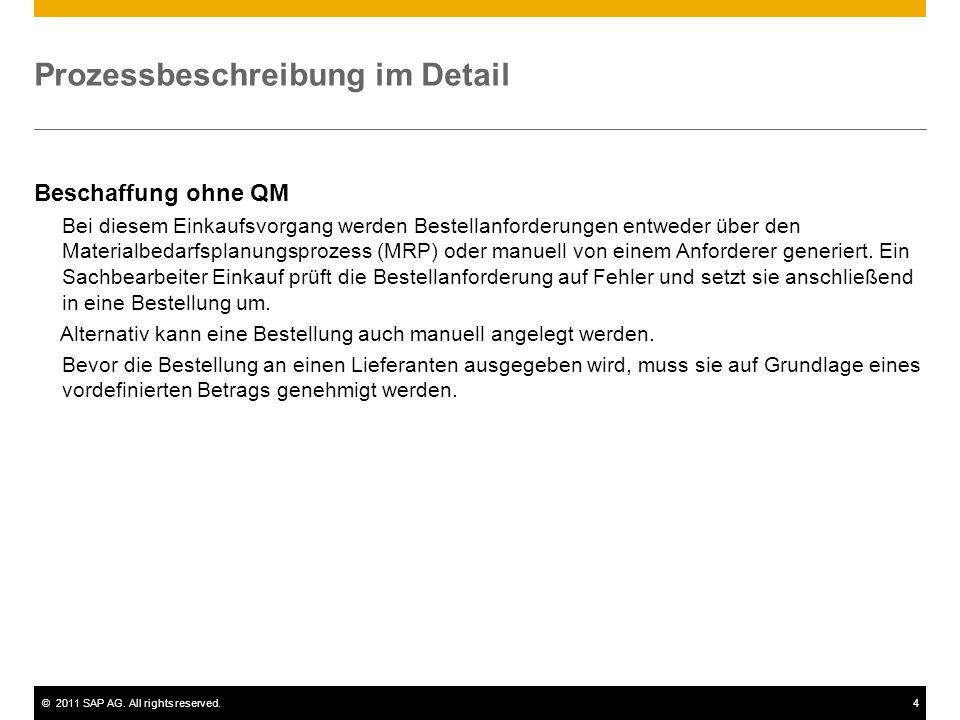 ©2011 SAP AG. All rights reserved.4 Prozessbeschreibung im Detail Beschaffung ohne QM Bei diesem Einkaufsvorgang werden Bestellanforderungen entweder