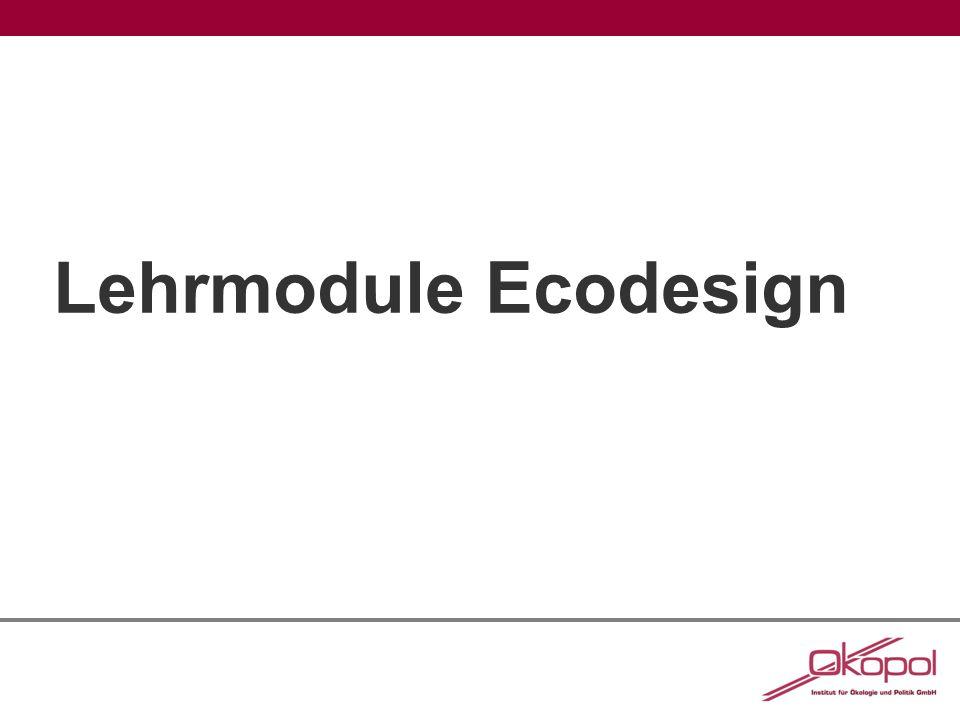 Impressum Lehrmaterial für die Lehrmodule Ecodesign Erstellt im Auftrag des Umweltbundesamtes im Rahmen des UFOPLAN-Vorhabens FKZ 371295303 Autoren/innen: Dirk Jepsen, Susanne Volz, Antonia Reihlen, Dr.