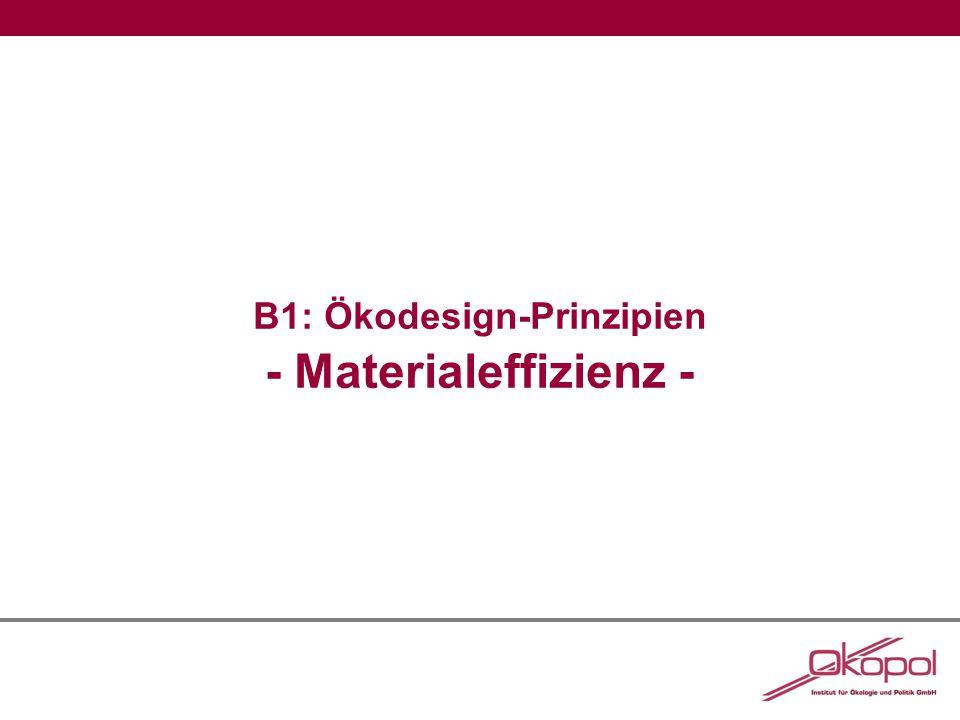 B1: Ökodesign-Prinzipien - Materialeffizienz -