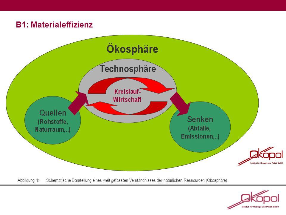 B1: Materialeffizienz Abbildung 1:Schematische Darstellung eines weit gefassten Verständnisses der natürlichen Ressourcen (Ökosphäre)