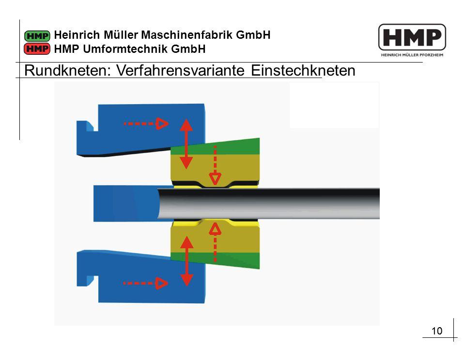 10 Heinrich Müller Maschinenfabrik GmbH HMP Umformtechnik GmbH Rundkneten: Verfahrensvariante Einstechkneten
