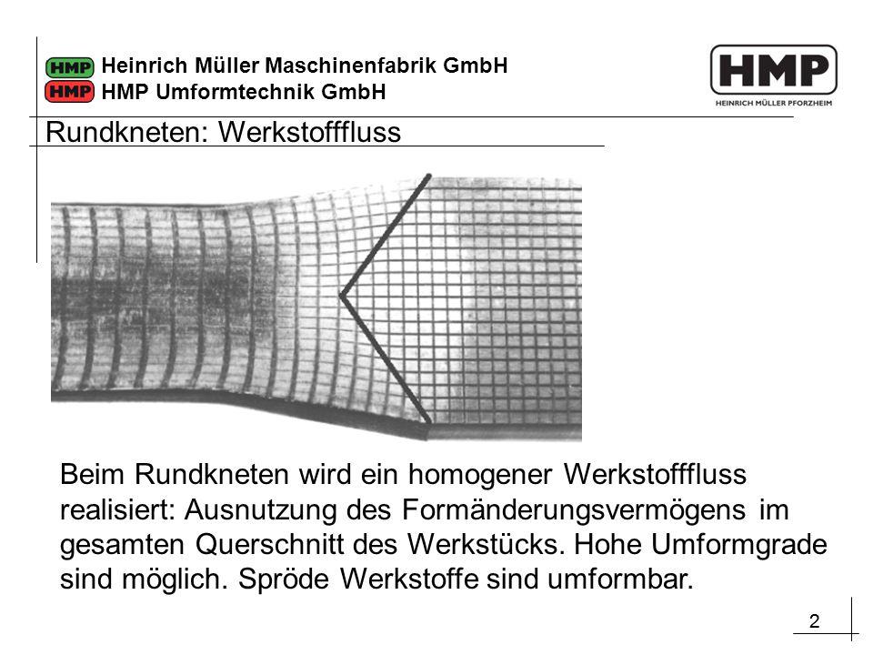 22 Heinrich Müller Maschinenfabrik GmbH HMP Umformtechnik GmbH Rundkneten: Werkstofffluss Beim Rundkneten wird ein homogener Werkstofffluss realisiert