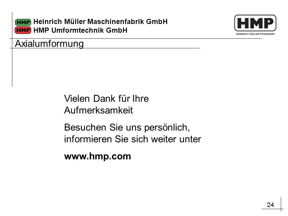 24 Heinrich Müller Maschinenfabrik GmbH HMP Umformtechnik GmbH Vielen Dank für Ihre Aufmerksamkeit Besuchen Sie uns persönlich, informieren Sie sich w