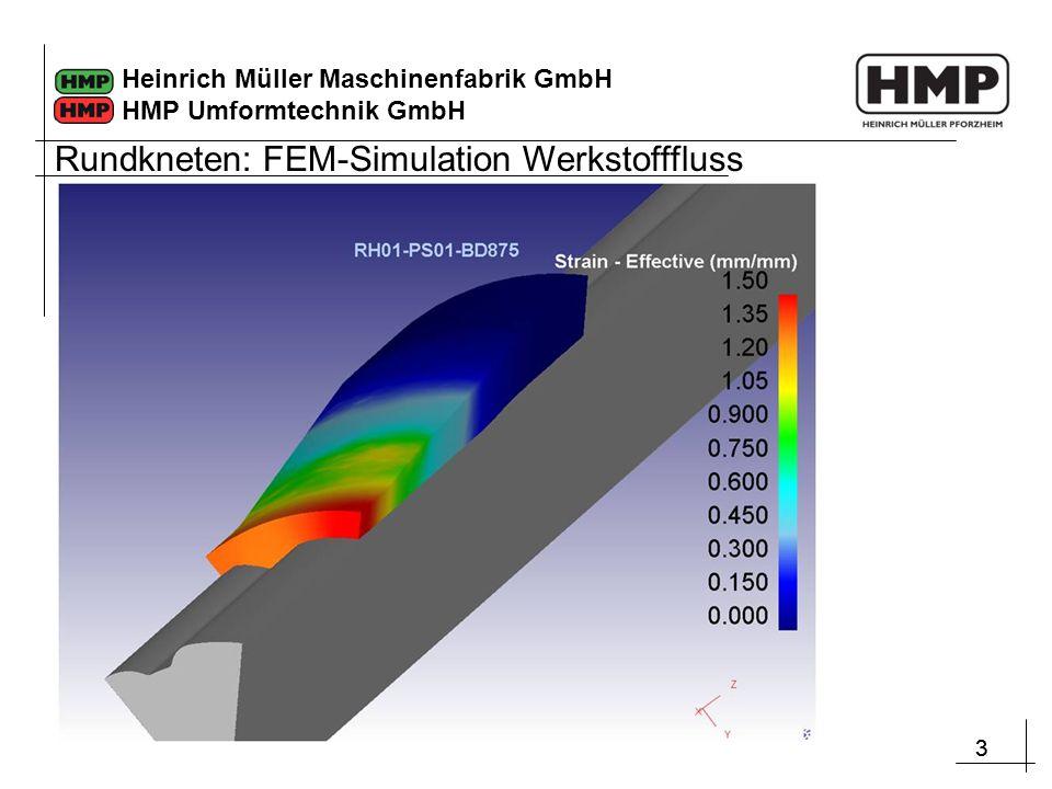 33 Heinrich Müller Maschinenfabrik GmbH HMP Umformtechnik GmbH Rundkneten: FEM-Simulation Werkstofffluss