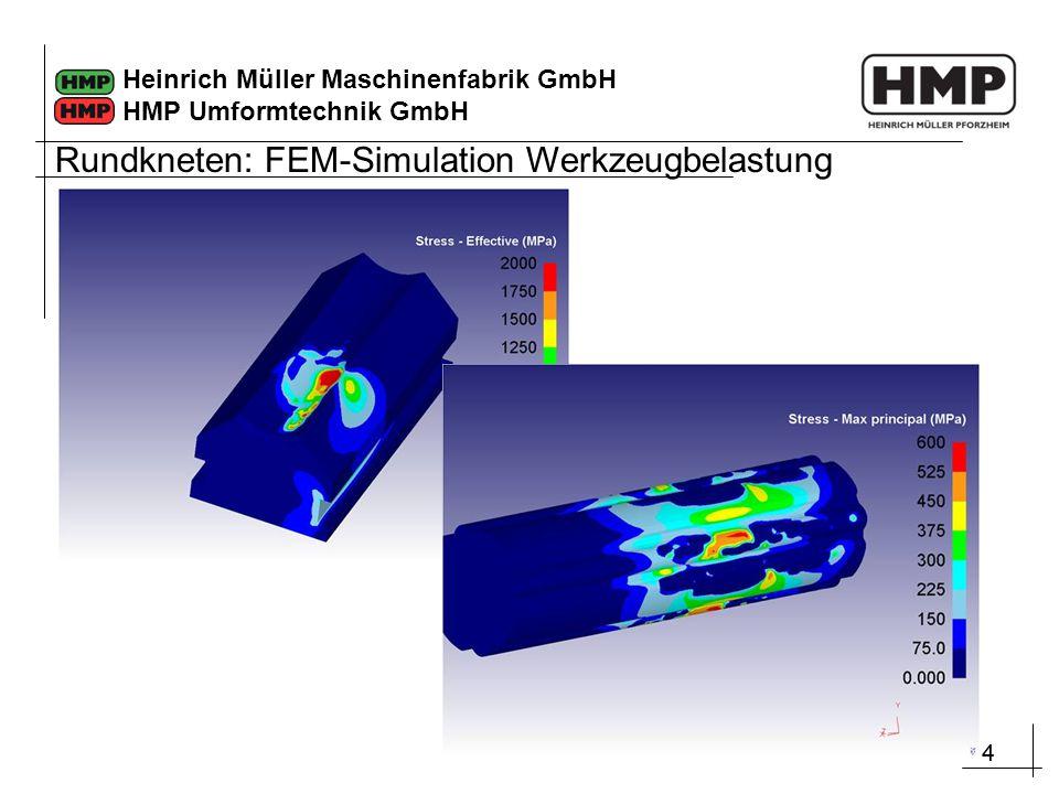 44 Heinrich Müller Maschinenfabrik GmbH HMP Umformtechnik GmbH Rundkneten: FEM-Simulation Werkzeugbelastung