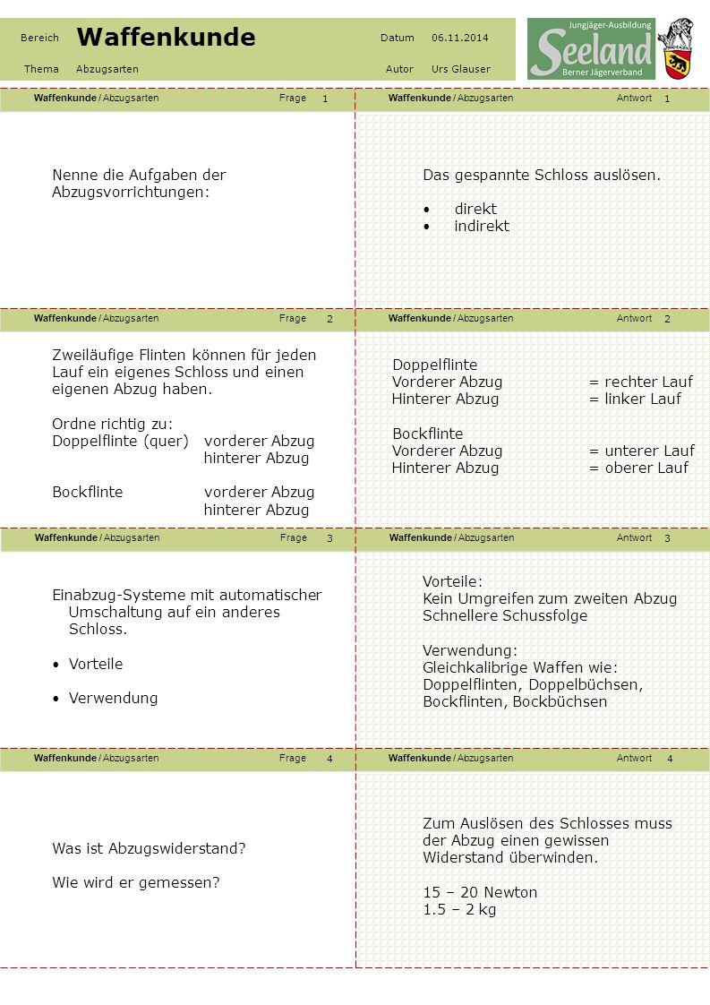 Waffenkunde / AbzugsartenFrageWaffenkunde / AbzugsartenAntwort Waffenkunde / AbzugsartenFrageWaffenkunde / AbzugsartenAntwort Waffenkunde / AbzugsartenFrageWaffenkunde / AbzugsartenAntwort Waffenkunde / AbzugsartenFrageWaffenkunde / AbzugsartenAntwort Bereich Waffenkunde Datum06.11.2014 ThemaAbzugsartenAutorUrs Glauser 55 6 8 7 6 7 8 Direkt wirkende Abzüge (Flintenabzüge) Erklärung Verwendung Erklärung Kein Vorweg Abzugswiderstand immer konstant Trockener Abzug Verwendung Flinten Repetierbüchsen Nenne die Aufgaben der Abzugsvorrichtungen: Das gespannte Schloss auslösen.