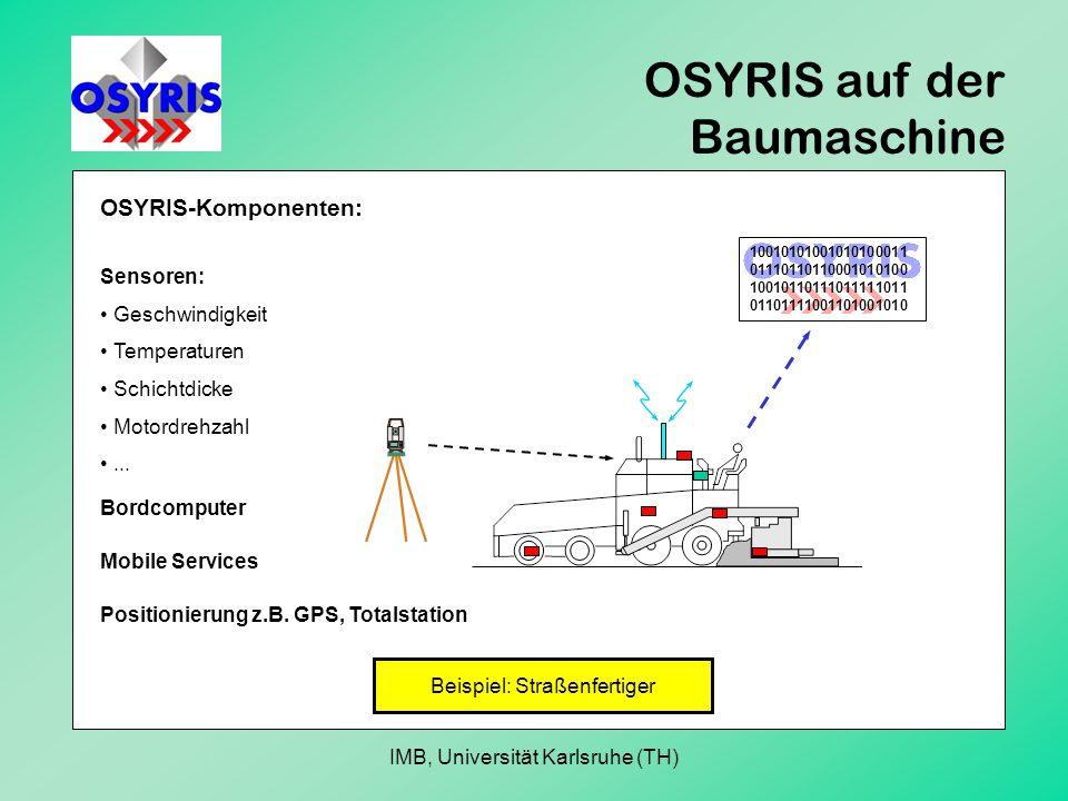 OSYRIS auf der Baumaschine Sensoren: Geschwindigkeit Temperaturen Schichtdicke Motordrehzahl...