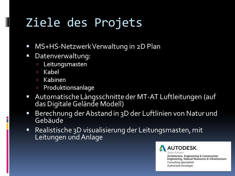 Ziele des Projets  MS+HS-Netzwerk Verwaltung in 2D Plan  Datenverwaltung:  Leitungsmasten  Kabel  Kabinen  Produktionsanlage  Automatische Làng