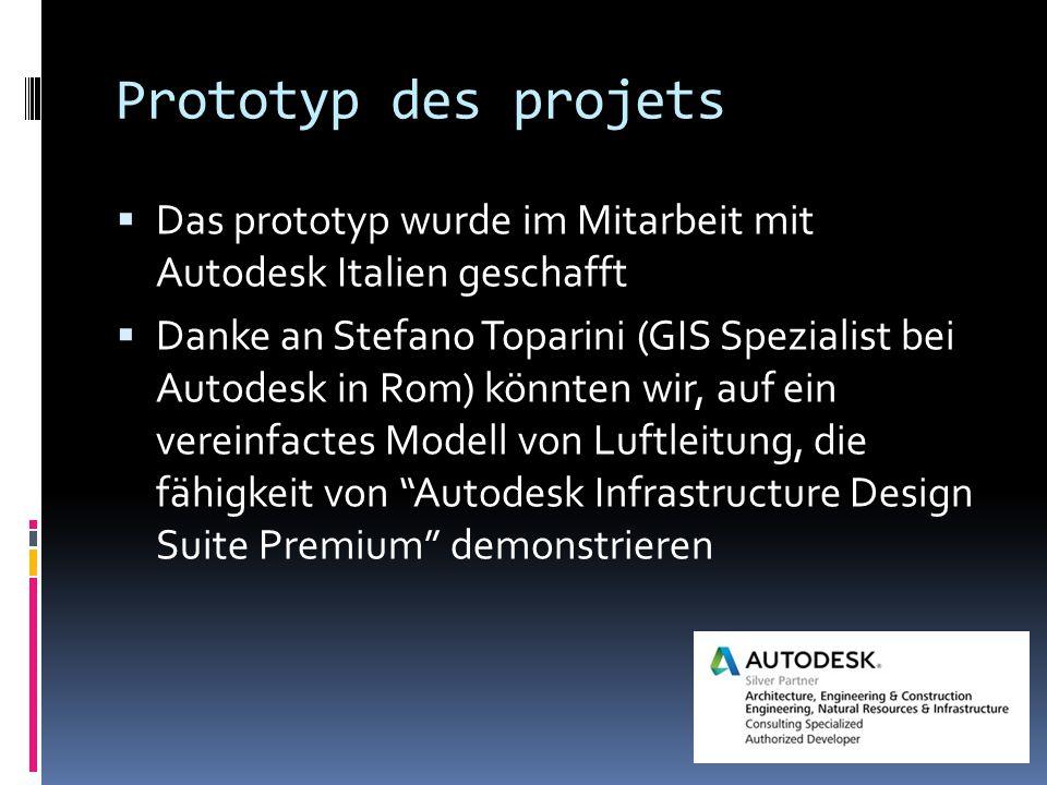 Prototyp des projets  Das prototyp wurde im Mitarbeit mit Autodesk Italien geschafft  Danke an Stefano Toparini (GIS Spezialist bei Autodesk in Rom) könnten wir, auf ein vereinfactes Modell von Luftleitung, die fähigkeit von Autodesk Infrastructure Design Suite Premium demonstrieren