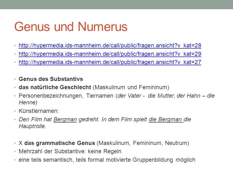 Genus und Numerus http://hypermedia.ids-mannheim.de/call/public/fragen.ansicht?v_kat=28 http://hypermedia.ids-mannheim.de/call/public/fragen.ansicht?v