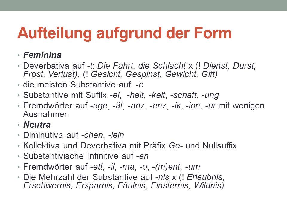 Aufteilung aufgrund der Form Feminina Deverbativa auf -t: Die Fahrt, die Schlacht x (! Dienst, Durst, Frost, Verlust), (! Gesicht, Gespinst, Gewicht,
