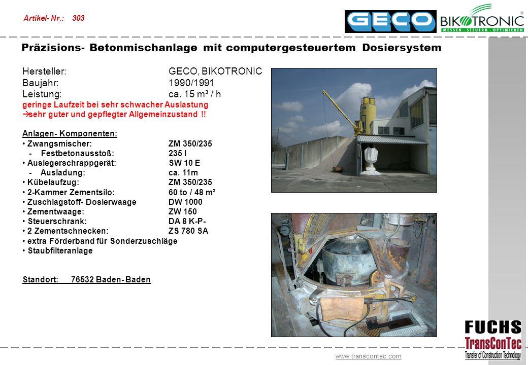 www.transcontec.com Hersteller:GECO, BIKOTRONIC Baujahr:1990/1991 Leistung:ca. 15 m³ / h geringe Laufzeit bei sehr schwacher Auslastung  sehr guter u