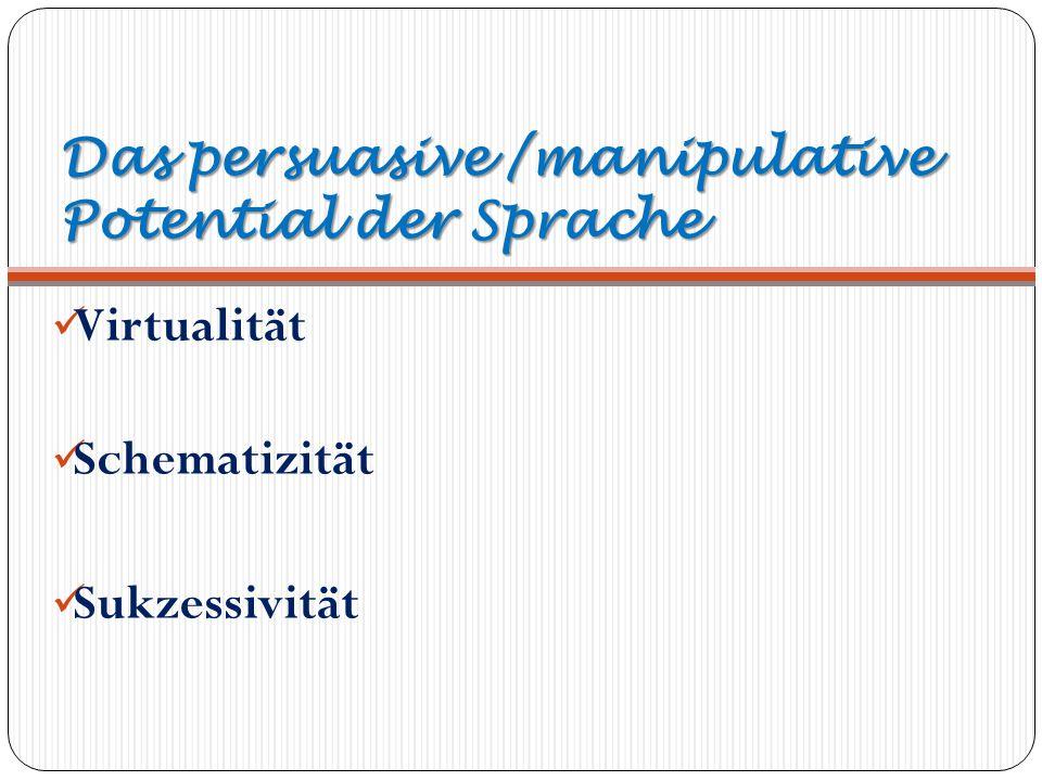 Das persuasive /manipulative Potential der Sprache Virtualität Schematizität Sukzessivität