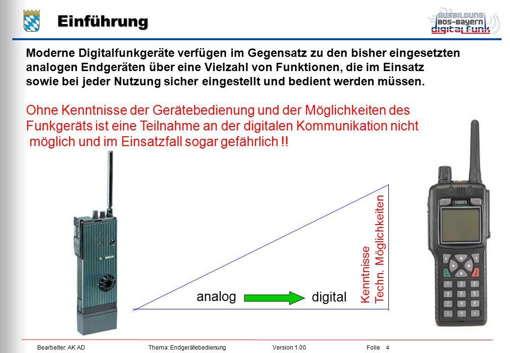 Bearbeiter: AK ADThema: EndgerätebedienungVersion 1.00Folie 5 Gerätetypen MRT / HRT Digitalfunkgeräte werden wie im Analogfunk in Fahrzeugfunkgeräte (MRT – Mobile-Radio-Terminal) und Handfunkgeräte (HRT – Hand-Radio-Terminal) unterschieden.