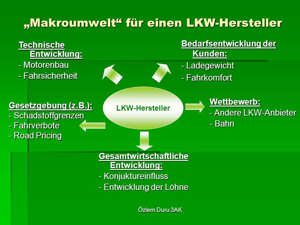 """Özlem Duru 3AK LKW-Hersteller """"Makroumwelt für einen LKW-Hersteller Bedarfsentwicklung der Kunden: - Ladegewicht - Fahrkomfort Technische Entwicklung: - Motorenbau - Fahrsicherheit Wettbewerb: - Andere LKW-Anbieter - Bahn Gesetzgebung (z.B.): - Schadstoffgrenzen - Fahrverbote - Road Pricing Gesamtwirtschaftliche Entwicklung: - Konjuktureinfluss - Entwicklung der Löhne"""